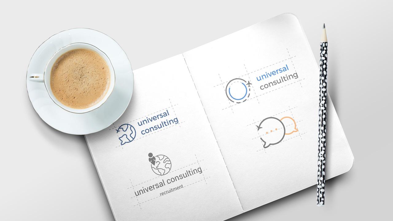rozpracované logo universal consulting
